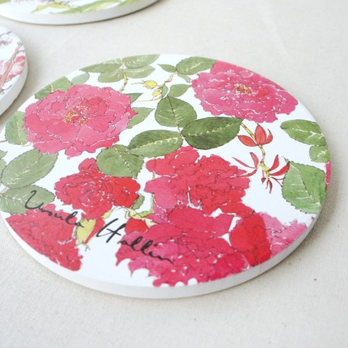 Ursula Hallin Rose of England ceramic coasters -Hallin002