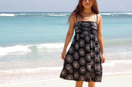 San flower print camisole Ruffle Dress <Black>