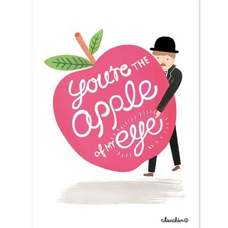 You Are the Apple of My Eye illustration postcard / card