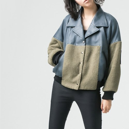 [JACKET] cashmere stitching leather jacket short version