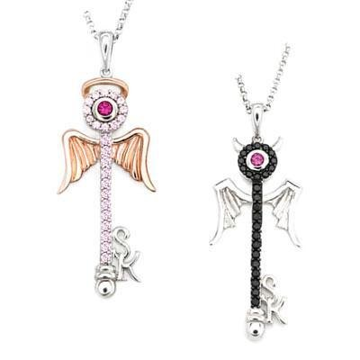 Hong Kong Design 925 sterling silver angel key inlay CZ Necklace Set Couple Necklaces
