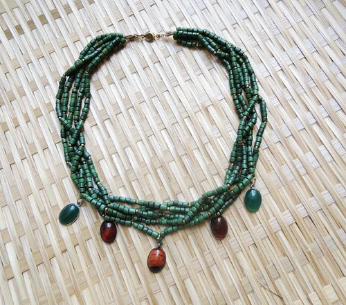 KINA Nature Series - tricolor twist natural stone necklace - forest colorful agate