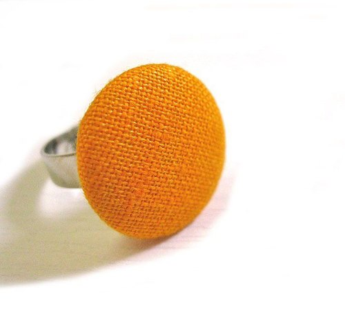 Hand-made cloth buttons bright orange ring