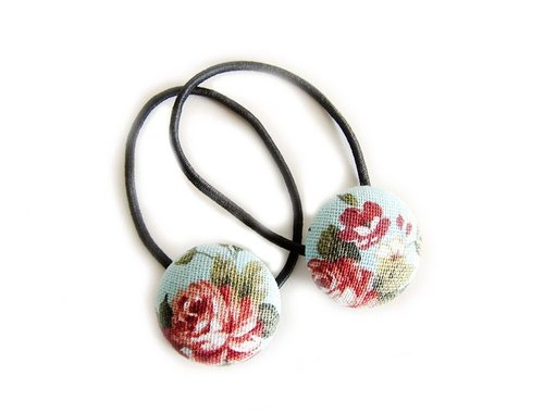 Hand-made cloth button hair headband ring ROSE