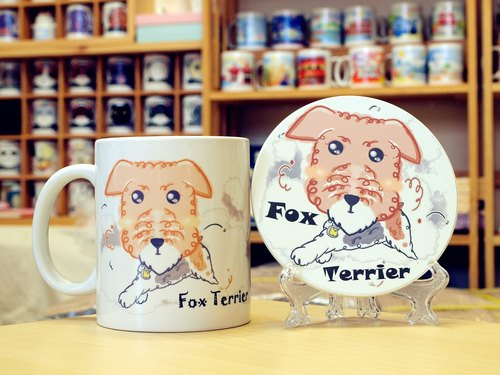 """NONCOOL. Cool farming ""Terrier. Mug (straight) - Coaster combination"