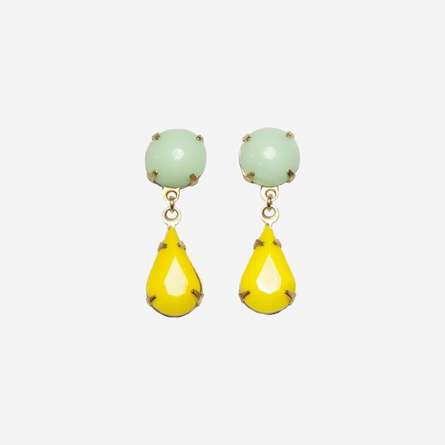 [Indigo] delicious macarons yellow and green earrings