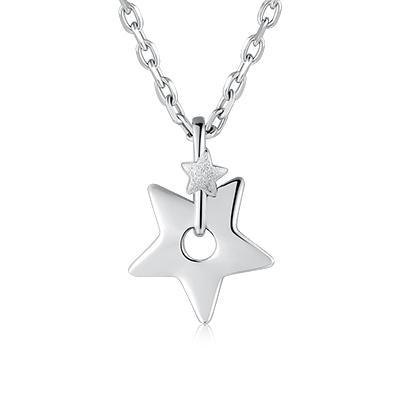 Hong Kong Design 925 sterling silver necklace classic binary star pendant