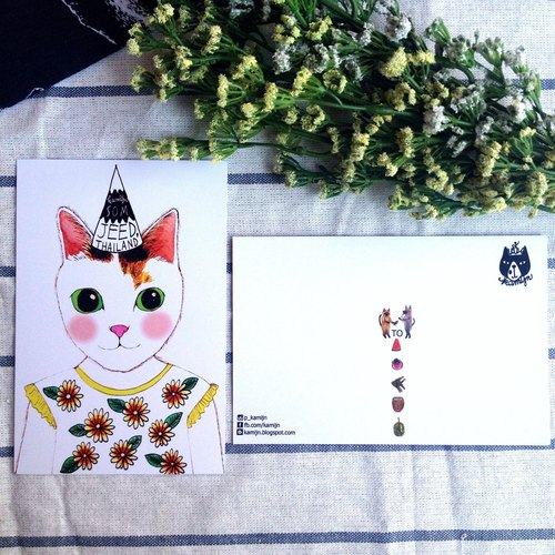 SOM JEED cat postcard