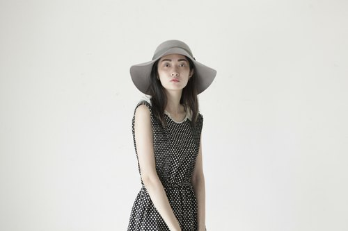 A ROOM MODEL - VINTAGE, CD-2098 vintage black white dress with little Shimokitazawa