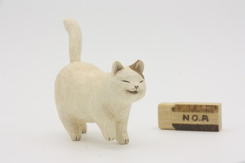 Department of Small Animal Healing carvings _ big white cat Cat (hand-carved wood)