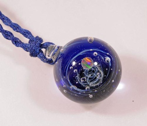 Microcosm microcosmos sea and sky and ... cobalt blue # 20 sphere Space ball opal Marble type glass pendant