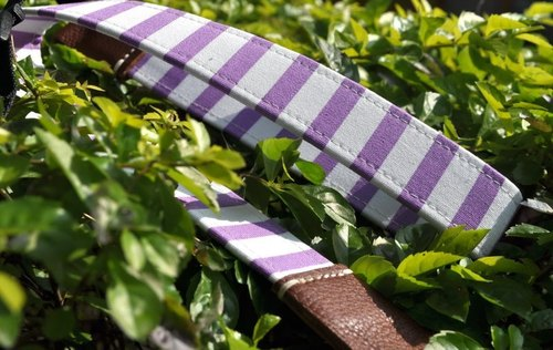 Between purple stripe double-sided leather strap