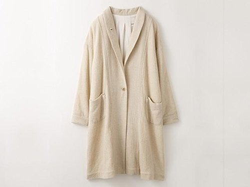 Soft light Long wool gauze coat - Ivory -