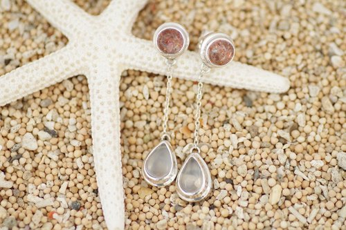 Sunstone and Moonstone earrings