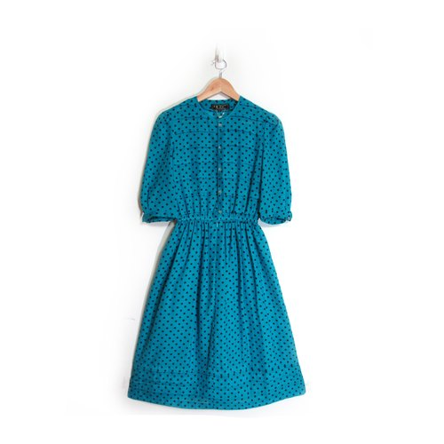 [Eggs] Terry plant vintage Shuiyu little vintage print dress