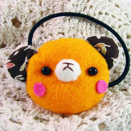 Cheerful. Bear hair bundle / hairpin / hair accessories _ Orange