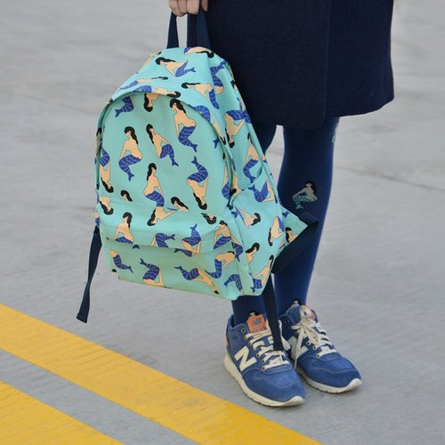 YIZISTORE after printing canvas shoulder bag backpack shoulder bag - Blue Mermaid