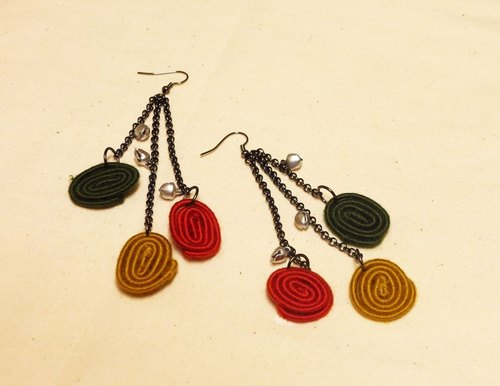 KINA Nature Series - wound exhort tricolor earrings