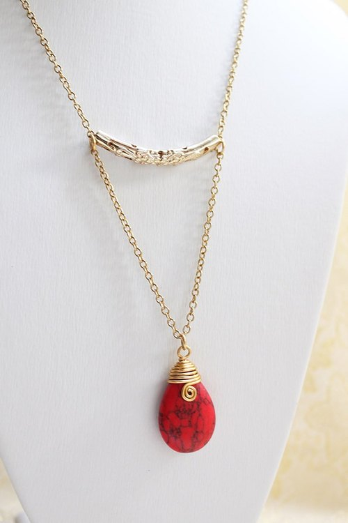Red Turquoise Necklace wire wrapped - Teardrop Pendant with Gold Tone Chain (N266)