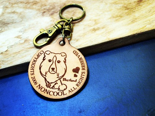 """NONCOOL‧ Cool farming"" Shetland. Leather simple - keyring (Line Series)"