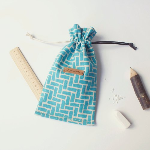Beam port pouch (salt taste) _ sea blue, tote, pencil beam port, mobile phone bags, bags of small objects, checkered, cotton cloth hand