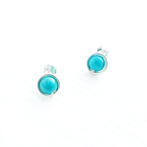 <GENIES>Turquoise Silver Earrings Clip On Piercings Ear Cuffs