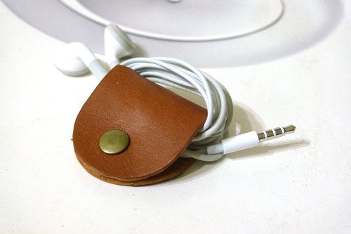 GREEN STAGE handmade leather - headphone hub - housing brown leather -LV