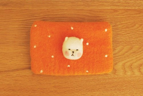 * Mori Shu * hand made wool felt - alpaca Shuiyu little Storage bag - bright orange