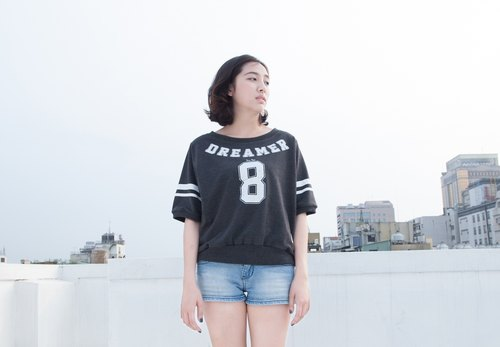 SUMI △ DREAMER around NO.8 ▽ asymmetrical dark gray casual shirt _4SF100_