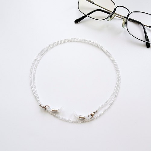 Clear Quartz Crystal Beaded Eyeglasses Holder Chain - Gift for Mom & Dad