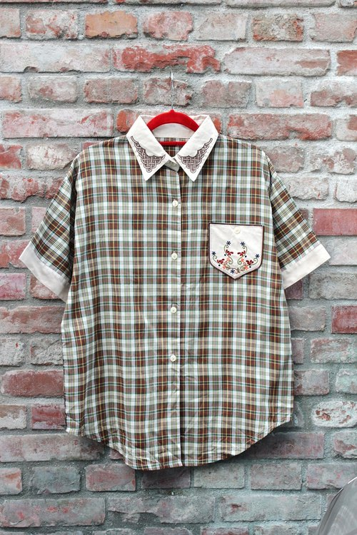 Vintage Japanese flower embroidery checkered shirt