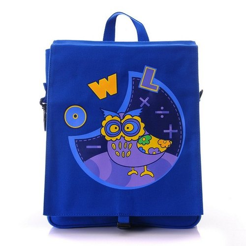 Zoo series of children's canvas bag - Blue Owl