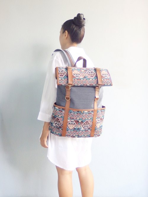 Bohemian Rucksack Backpack: roll up top lightweight luggage / Thai woven Design Handmade.