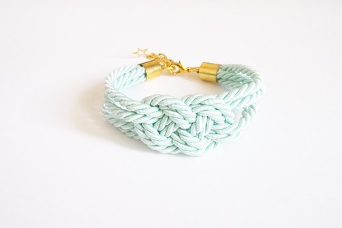 Light Mint infinity knot rope bracelet - friend gift - rope bracelet -pastel jewelry.