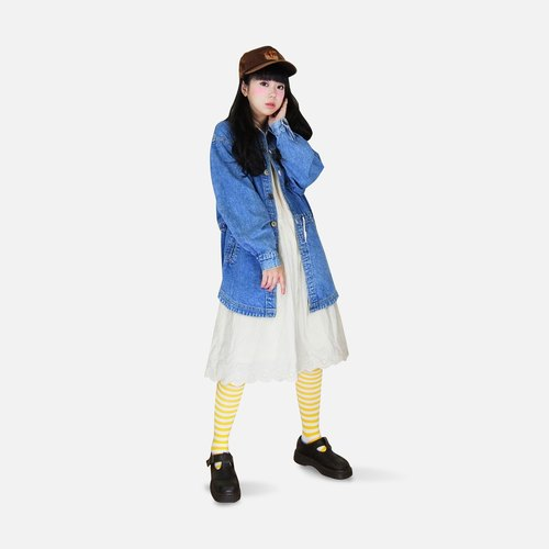 A‧PRANK: DOLLY :: VINTAGE retro with drawstring waist denim shirt Long thin coat