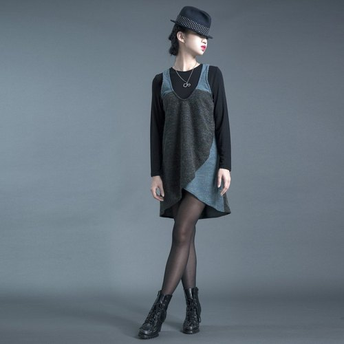 [Top] _ level modeling vest dress _ < black + blue / light gray + dark gray (to be) x2 colors >