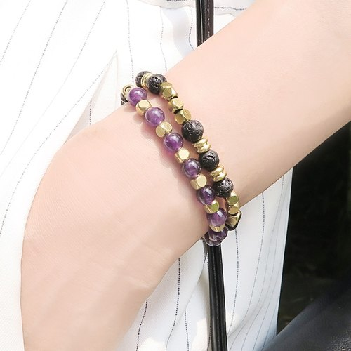 Nom [2] ◆ combination price - Unisex / natural ore / amethyst / fire rock / brass / neutral style / bracelet bracelet gift custom design