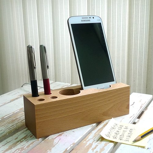 Handmade wooden logs mobile phone holder mobile phone holder Beech making phone charging receptacle [European beech]