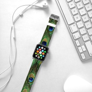 Apple Watch Series 1 , Series 2, Series 3 - Apple Watch 真皮手錶帶,適用於Apple Watch 及 Apple Watch Sport - Freshion 香港原創設計師品牌 - 孔雀圖案