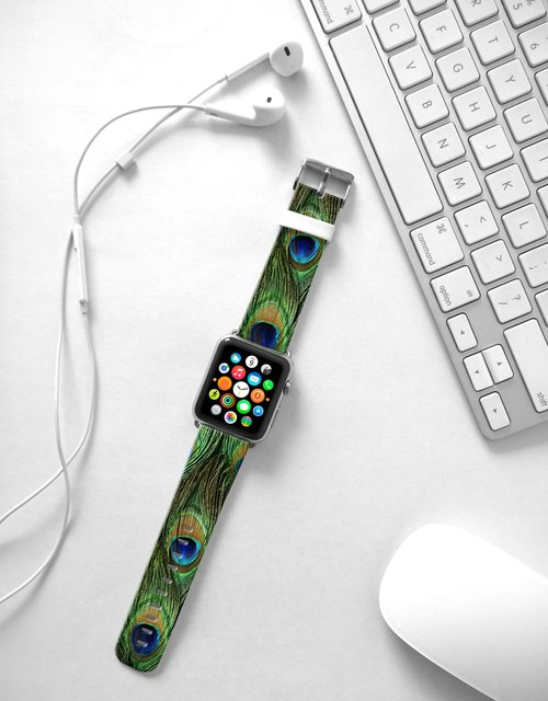 Apple Watch Series 1 , Series 2, Series 3 - Peacock Pattern Watch Strap Band for Apple Watch / Apple Watch Sport - 38 mm / 42 mm avilable