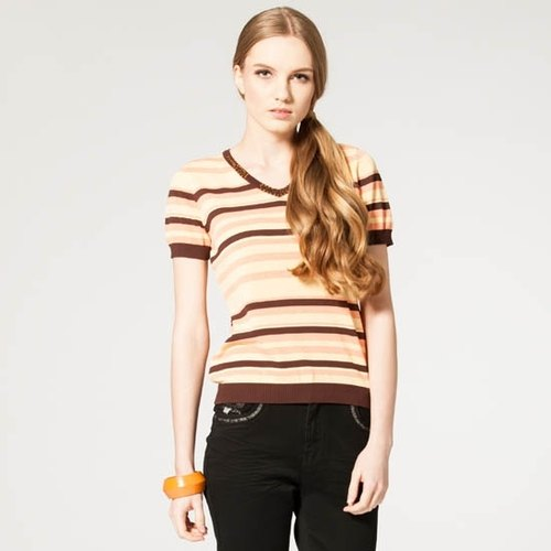 [KIINO] dynamic play out V-neck stripes color knit tops (coffee) - A total of three yards (3841-1064)