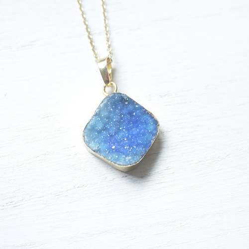 Sky | necklace blue crystal gilt rough natural stone / 087 /