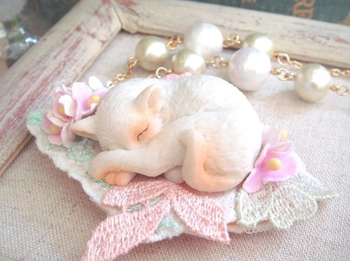 Garohands forest of Japan nap kitty cotton lace pearl handle long chain A415 gifts