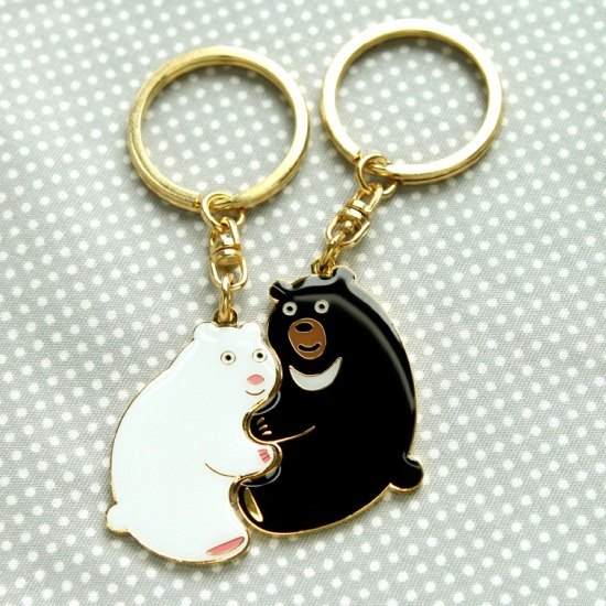 """Custom Birthday / Valentine / Christmas / Bear"" Perfect Together Keychain - Formosan black bear and the polar bear ""custom lettering mine service"""