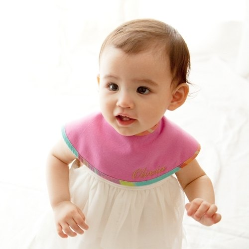 Japan MARLMARL-Marche stripe bibs (purple Hongling Plaid)