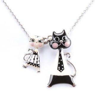 [Taratata smart cat series] Paris cold little black and white enamel Roman Holiday pop style European style cute cat necklace handmade jewelry