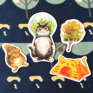 Cats in Forest Glass Bowl Stickers