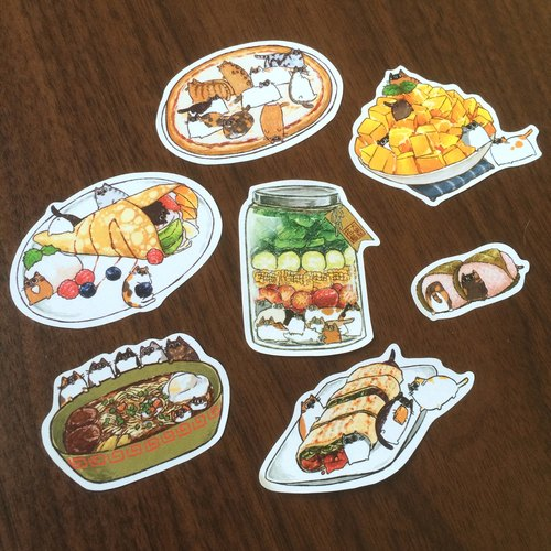 Art sticker / Cat and food series