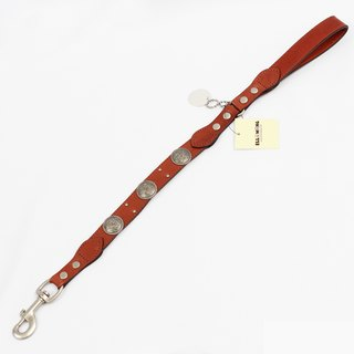 Ella Wang Design metal carved medallion leather 60cm short leash - brown (coffee) pet collar