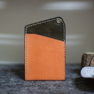 Leather handmade leather play both sides of the color-color sets of documents (without strap) _ Orange + olive green